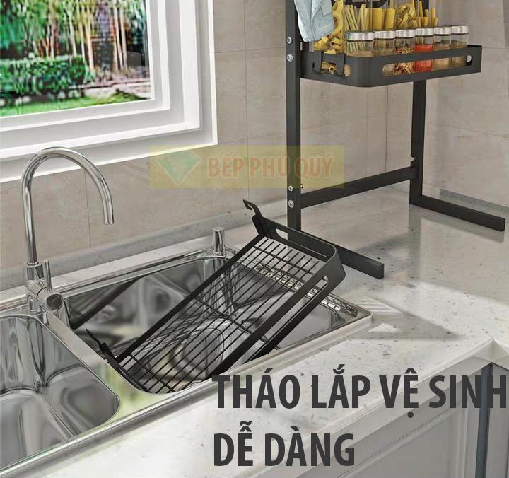 tháo lắp vệ sinh dễ dàng kệ gia vị inox 2 tầng để bàn