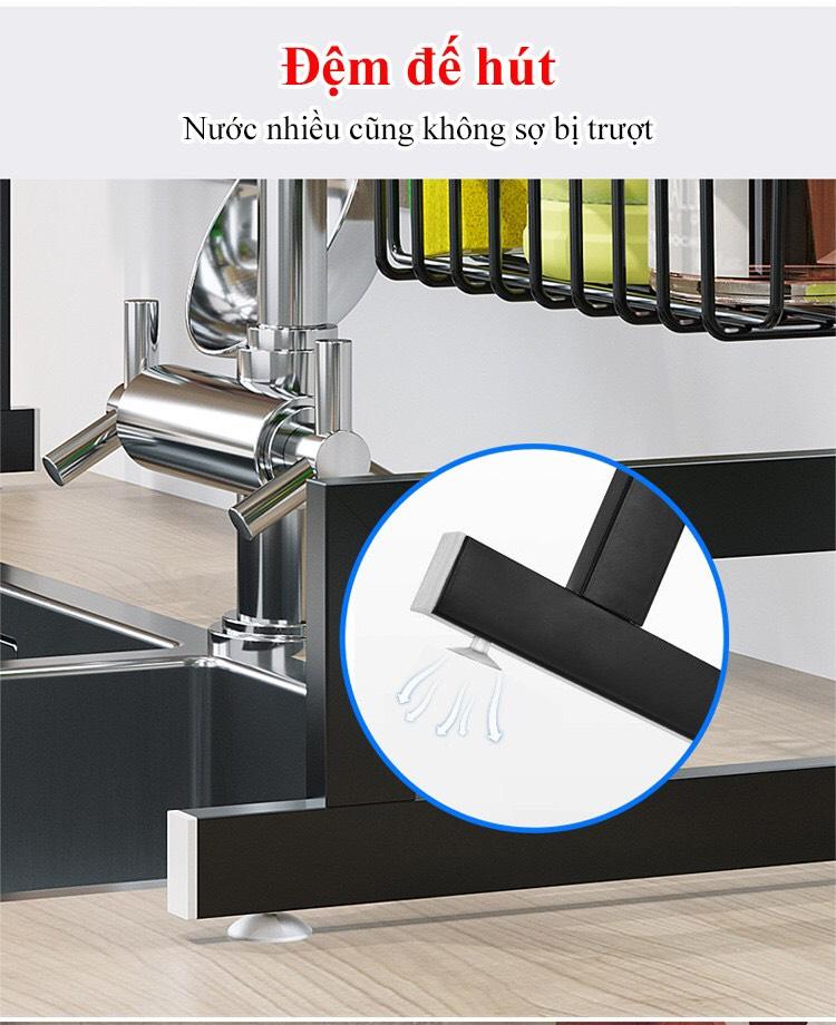 đệm hút chân không giá để đồ trên chậu rửa bát inox 304
