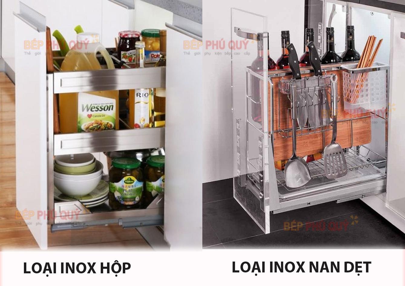 lựa chọn giá gia vị dao thớt đa năng inox hộp và inox nan luxury