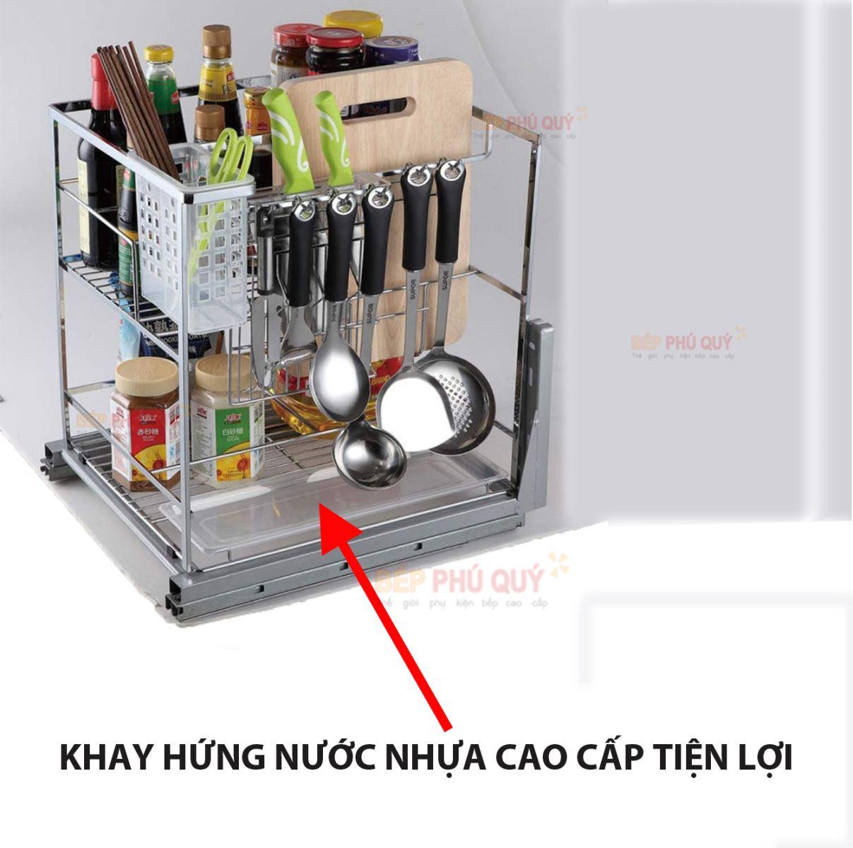 khay hứng nước giá gia vị dao thớt đa năng inox 304 thương hiệu luxury