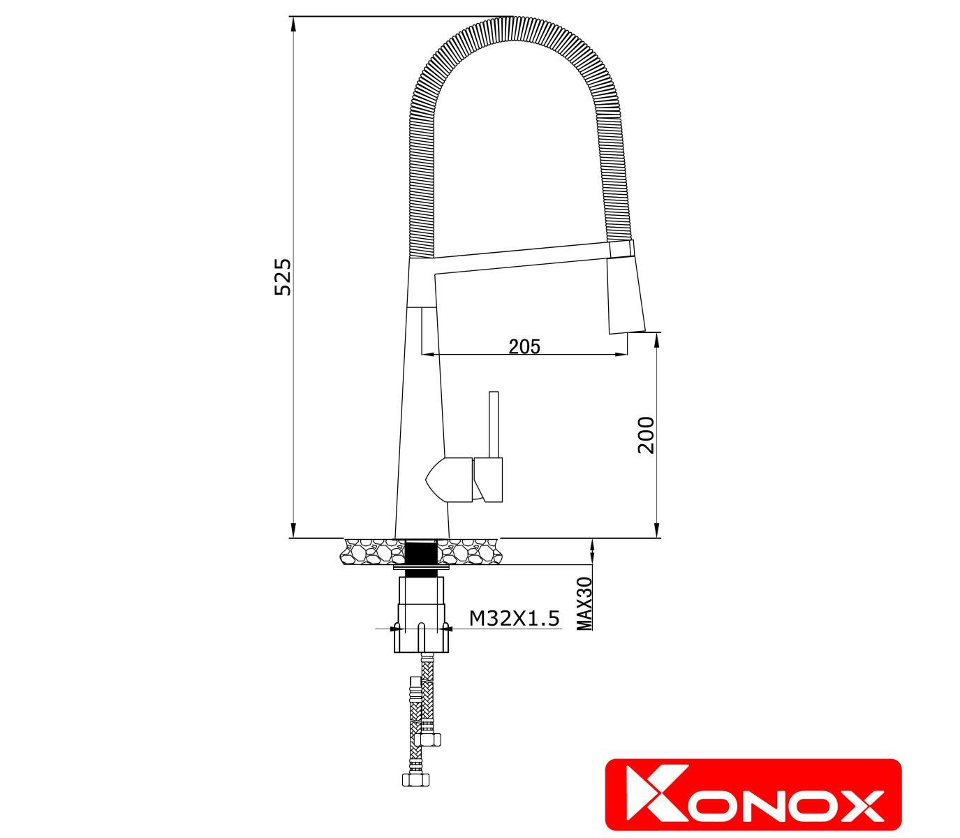 thiết kế vòi rửa bát konox KN1909