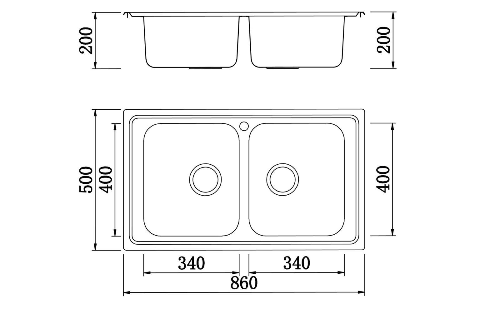 kích thước chậu rửa bát konox Premium-KS8650 2B
