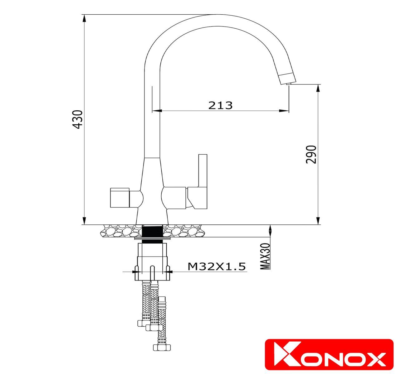 thiết kế vòi rửa bát konox RO-KN1309