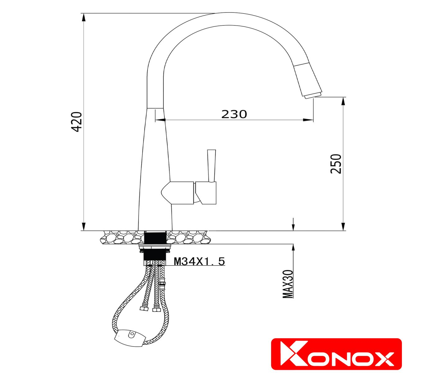 kích thước vòi rửa bát konox KN1901N
