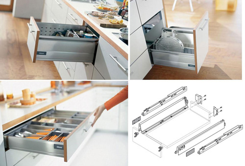 hệ ray âm giảm chấn phụ kiện tủ bếp thông minh