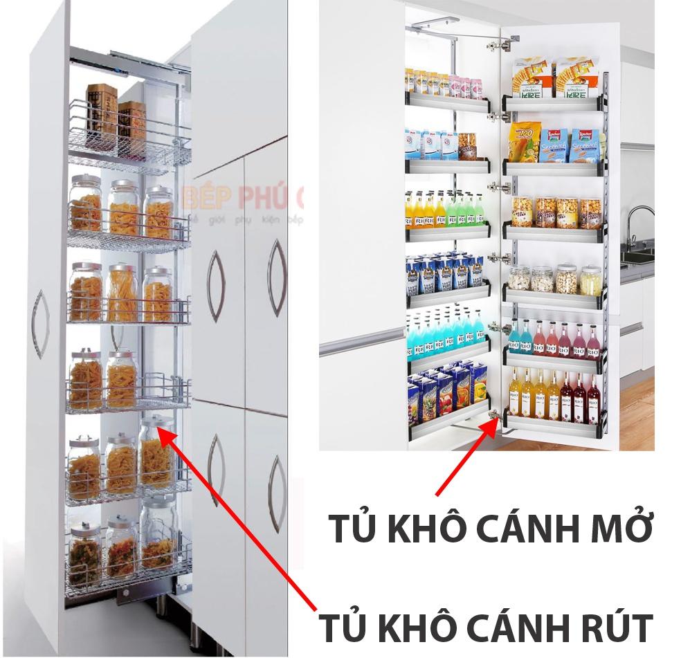 phân loại tủ đồ khô cánh mở và cánh rút
